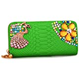 New Fashion Colorful Peacocks Crystal Lighted-up Long Women Wallets Rhinestones Ladies Pearl Gloss Flap Crystal Practical Bifold Purse Clutch