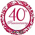 "Red Damask 40th Anniversary 18"" Mylar Balloon"