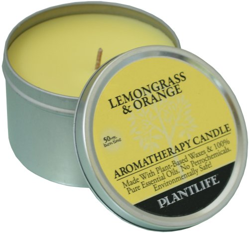 Lemongrass & Orange Aromatherapy Candle-made with 100% pure essential oils - 6oz tin