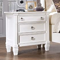 Big Sale White Three Drawer Night Stand by Ashley Furniture