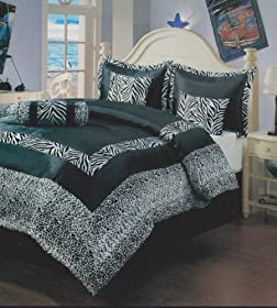 8pcs Queen Size Black Satin Zebra Flocking Comforter Set with 4