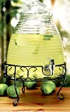 Old Fashioned Beehive Glass Beverage Dispenser with Stand