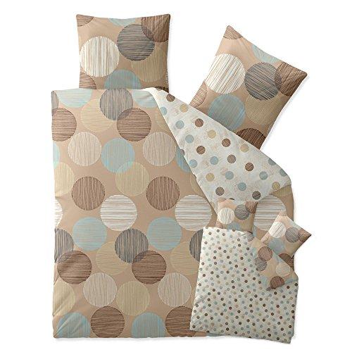 3-teilige-Bettwsche-verschiedene-Gren-4-Jahreszeiten-200-x-220-cm-Baumwolle-Trend-Wendedesign-Fara-3-tlg-Punkte-gestreift-natur-beige-blau-braun