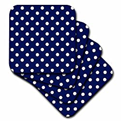 3dRose cst_24685_3 Navy Blue and White Polka Dot Print-Ceramic Tile Coasters, Set of 4