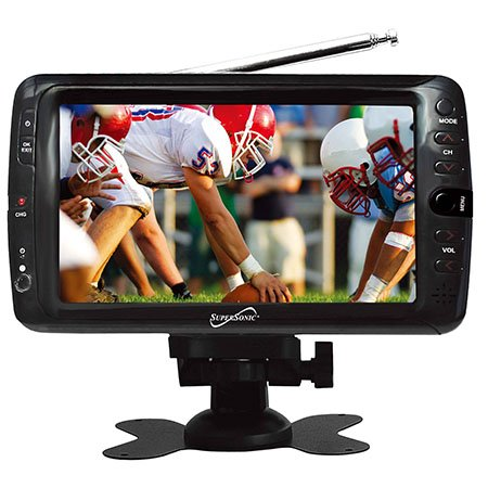 "Supersonic Portable 7"" Lcd Tv With Built In Digital Tuner And Antenna Rod, Rechargeable Battery. Comes With Home Charger And Free Vehicle Charger! A/V Inputs And Remote Control."