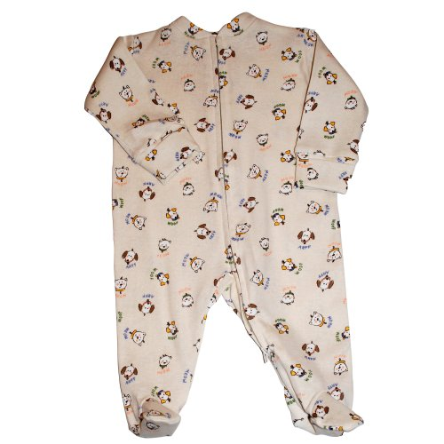 Halo Innovations 100% Organic Cotton Coverall - Cats and Dogs, 3-6 months