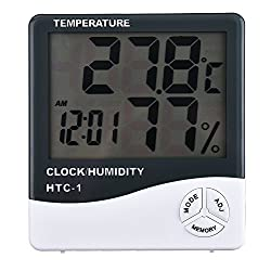 cubee Outdoor Hygro-Thermometer Temp. Humidity Meter with Clock Function