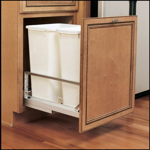 Rev-A-Shelf Rev-A-Shelf Double Soft Close Pull Out 50 qt. Trash Can, White Polymer, Plastic