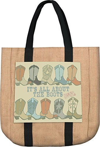 Manual Woodworkers and Weavers SOIAAB It All About The Boots Tote Bag Burlap Printed Patch 16.4 X 13.5 in. Burlap