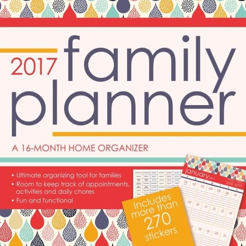 Family Planner Calendar 2017 -- Deluxe Family Planner Wall Calendar with Over 270 Calendar Stickers (12x12) (Big Family compare prices)