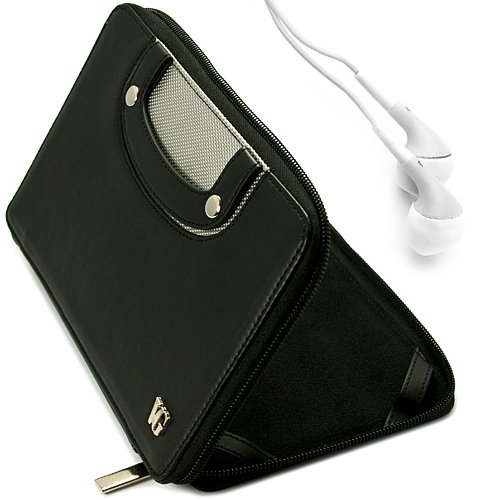 Black Vg Executive Leatherette Premium Book Style Protective Folio Case With Pu Leather Carrying Handles For Double Power D7015 / Md-740 / Md-702 / T-711 / T708 7-Inch Android Tablets + White Handsfree Hifi Noise Isolating Stereo Headphones With Windscree