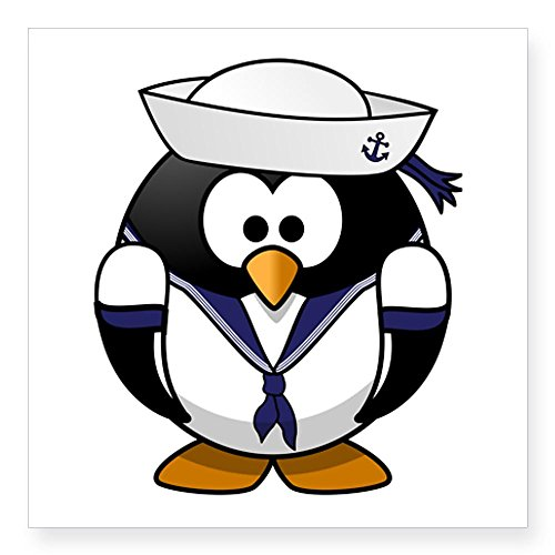 Square Sticker White 3 x 3 Inch Little Round Penguin - Navy Sailor