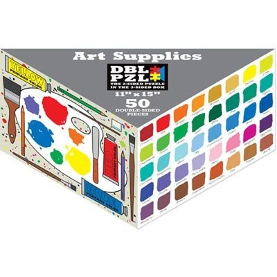 50-Piece Double 2-Sided Jigsaw Puzzle In Triangular Box - Artists Supplies Pa...