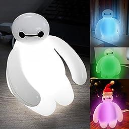 Big Hero 6 Baymax Vinyl Action Figure Cartoon Kids Color Changing Night light LED lamp for Children Baby Bedroom USB Rechargeable