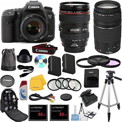 Canon EOS 7D Mark II Digital SLR Camera with EF 24-105mm f/4 L IS USM Lens Celltime Exclusive Bundle with EF 75-300mm f/4-5.6 III Telephoto Zoom Lens + High-Capacity Battery + 3pc Filter Glass Kit + 4pc Macro Lens Kit + 2pcs 32GB Memory Cards + 16pc Accessory Kit (Canon 7d Package compare prices)