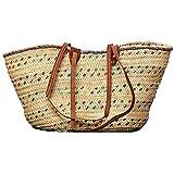 "Moroccan Straw Market Shoulder Bag w/ Leather Straps - 25""Lx14""H - Tunis"