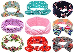 Qandsweet Baby Adjustable Headbands Girls Hair Accessories (Mix 9 Models)
