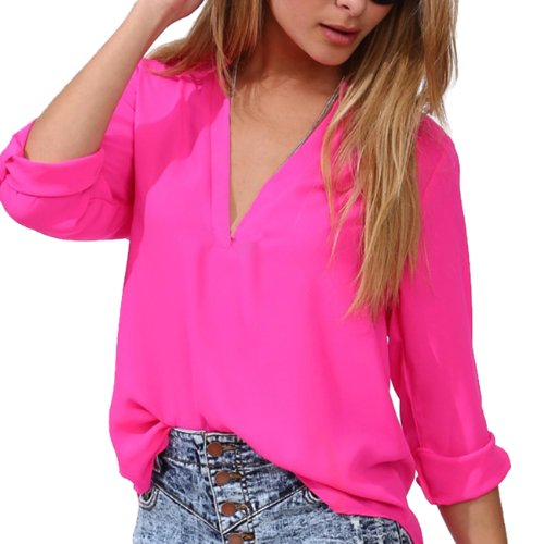 Little Hand Womens Summer Casual V-Neck Long Sleeve Chiffon Blouses Top front-931638