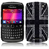 Blackberry Curve 9360 Black Union Jack Diamante Case / Cover / Shell / Shield Part Of The Qubits Accessories Rangeby Qubits