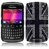 Blackberry Curve 9360 Black Union Jack Diamante Case / Cover / Shell / Shield Part Of The Qubits Accessories Rangeby Qubits