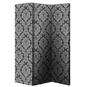 Black/Silver Damask Room Divider 008109 [008109] by Fig