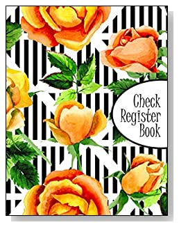 Peach Roses Check Register Book - A beautiful book with wide lines to easily track all your checking account activity without having to write tiny and cram everything into those little check register booklets.