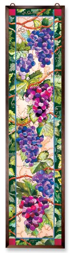Amia Window Décor Panel Features a Colorful Grapevine Design, 9-Inches Width by 40-Inches Length, Handpainted Glass 0