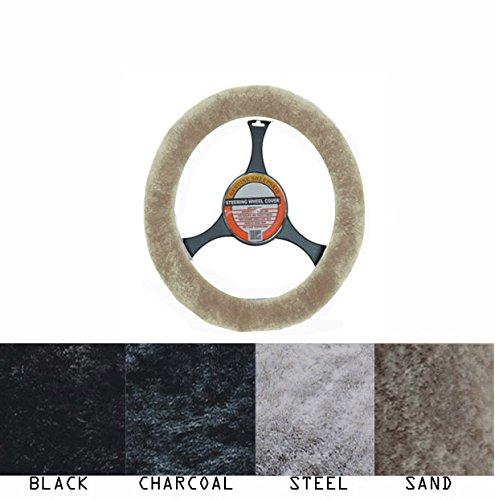 [해외]럭셔리 호주 양모 스티어링 휠 커버 모래/Luxury Australian Sheepskin Steering Wheel Cover Sand