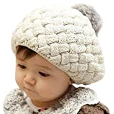 LOCOMO Baby Infant Boy Girl Knit Beanie Crochet Rib Pom Pom Hat Cap Warm Beige FBA002BEI