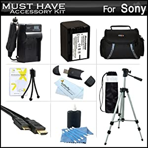 Must Have Accessory Kit For Sony HDR-CX200, HDR-CX260V High Definition Handycam Camcorder Includes Replacement (2300Mah) NP-FV70 Battery + Ac / DC Charger + Deluxe Case + Tripod + Mini HDMI Cable + USB 2.0 SD Reader + Much More