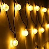 Angel Kiss Solar Outdoor String Lights Warm White 19.7 ft 30 LED Crystal Ball Christmas Globe Lights for Garden Path, Party, Patio Christmas Tree, Bedroom Decoration and Holiday Decorations