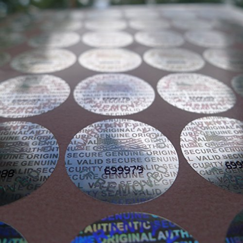 100 Round Bright Silver Hologram Sequentially Numbered Tamper Evident Security Labels/stickers (Tamper Resistant Sticker compare prices)