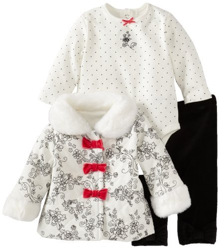 Little Me Stivaletti neonato rosa fiocco 3Piece Set, Nero Multi, da 6mesi colore: nero-Dimensioni: 6mesi neonato, Bambino, Bambino