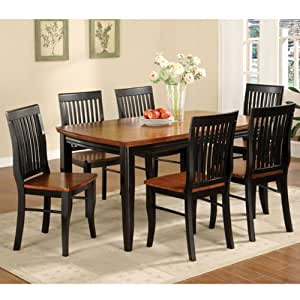 style black oak finish 5 piece dining set table chair sets