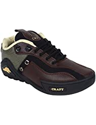 Nuke Woodcraft Brown And Black Synthetic Leather Casual Shoes For Men