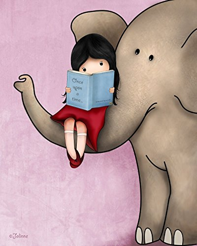 Art for Kids Room Nursery Wall Decor Girl and Elephant Poster Children's Bedroom Library Print, 8