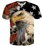 RXBC2011 Men's American Flag Eagle 3D Printed T-shirt XS-XXL