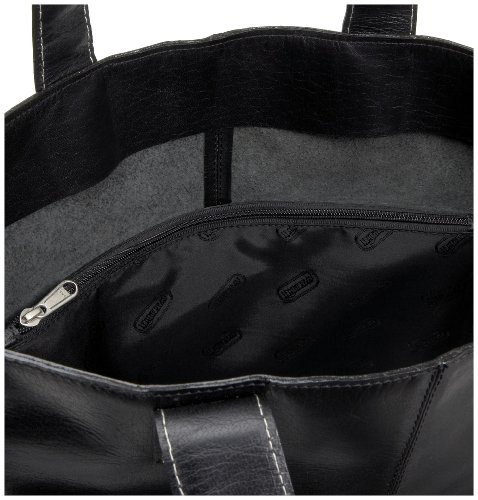 Leatherbay Shopping Leather Tote,Black,one size