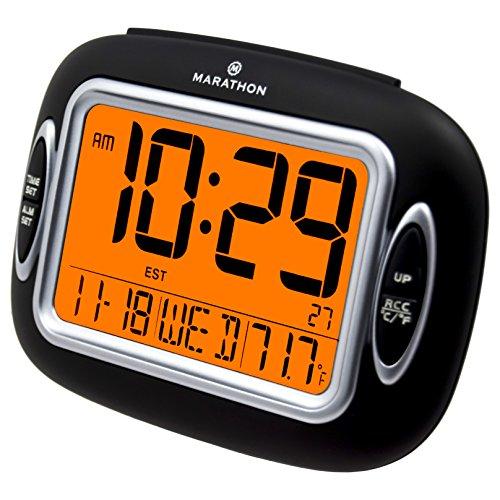 MARATHON CL030051BK Atomic Alarm Clock With Temperature & Date - Batteries Included