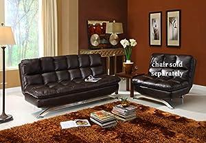 Futon Sofa Convertible - Espresso Faux Leather