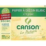 Canson Pochette Papier à dessin C à grain 12 feuilles + 4 offertes 224g 24 x 32 cm Blanc
