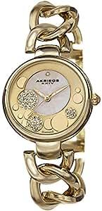 Akribos XXIV Women's AK678YG Lady Diamond Crystal Mother-Of-Pearl Dial Gold-Tone Twist Chain Link Bracelet Watch