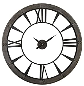 rustic iron bronze wood wall clock oversized open design distressed