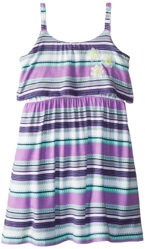 Design History Little Girls' Stripe Dress Flower Sequins, Amethyst Combo, 2T