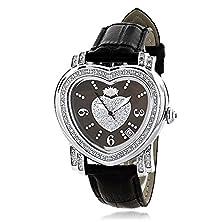 buy Luxurman Large Ladies Diamond Heart Watch 0.3Ct Black Mop