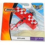 2008 Matchbox Sky Busters BIPLANE MBX METAL 13 OF 36 (Red w/ white checkers on wings) 4