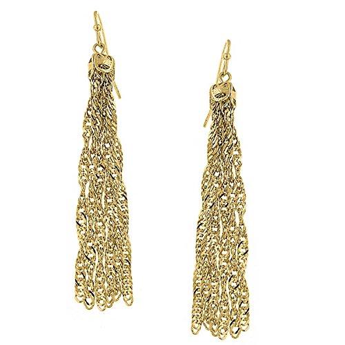 1928 Womens Metal Tassel Earrings (Gold-Tone)
