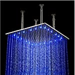 Rozin 20 Inch Stainless Steel Shower Head LED Changing Color Rainfall Top Sprayer