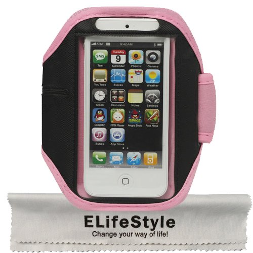 """Elifestyle Protective Anti-Slip Gym Jogging Active Sport Armband Case Cover Skin Holder For """"The New Iphone"""" New Apple Iphone 5 Generation 5G (At&T, T-Mobile, Sprint, Verizon)(Pink)"""