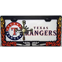 1 , Ranger Clock, on a,  ,TEXAS RANGERS, , Metal Sign, on, Metal, Exhaust Flames,...